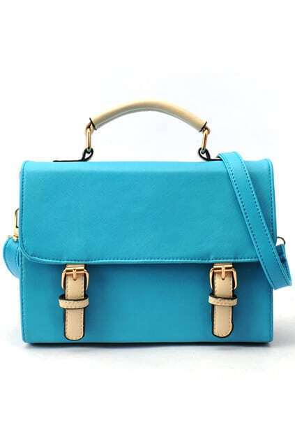 Simple Style Buckle Blue Bag
