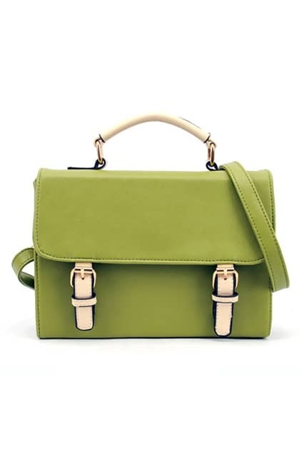 Simple Style Buckle Green Bag