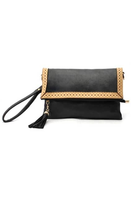 Black Hollow Out Envelope Clutch