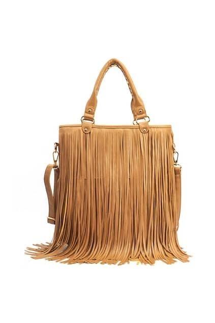 Long Tassel Khaki Handle Bag