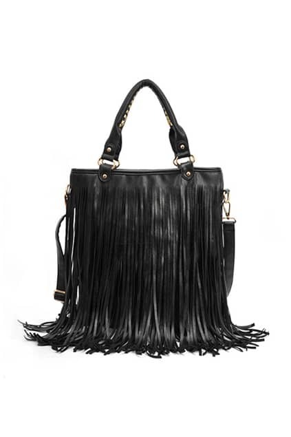 Long Tassel Black Handle Bag