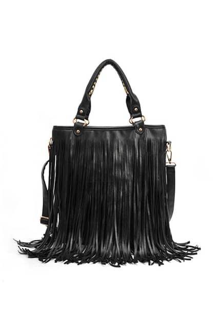 Long Tassel Black Handle Bag