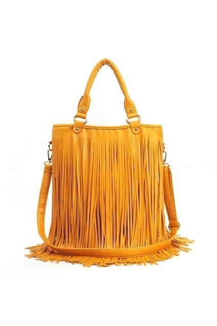 Long Tassel Yellow Handle Bag