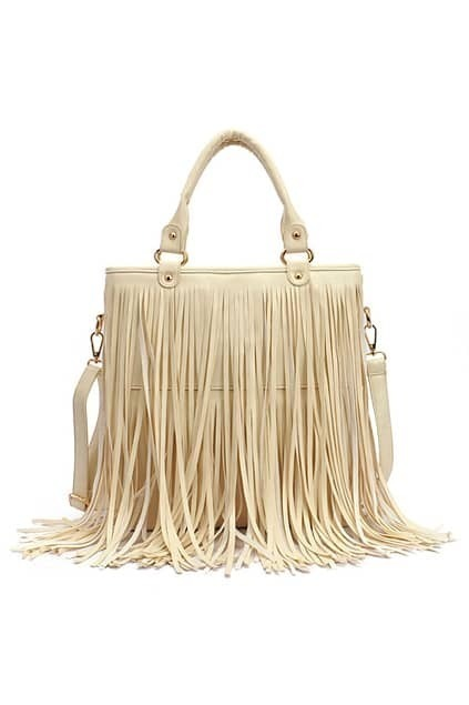 Long Tassel Cream Handle Bag