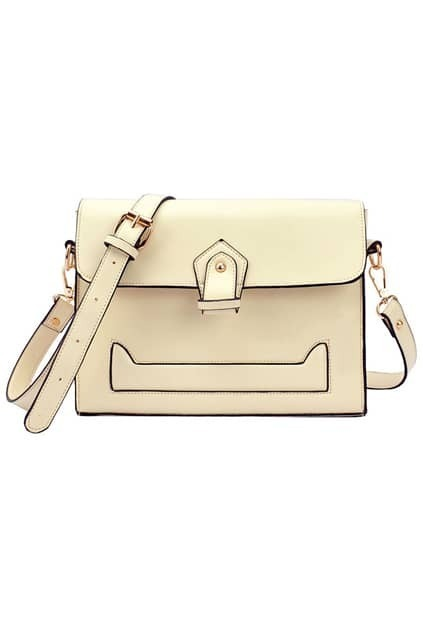 Preppy Style Cream Shoulder Bag
