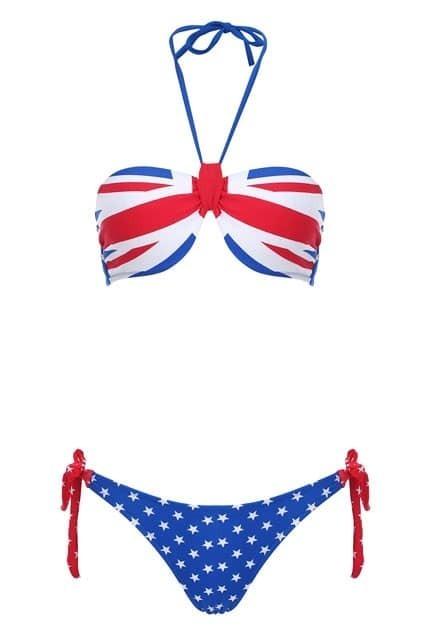 Union Jack Bandeau Bikini Set