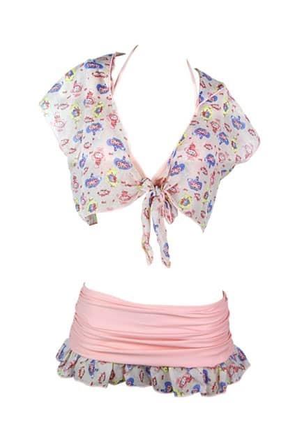 Cute Pink Three Bikini Set