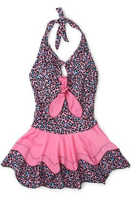Leopard Print Skirted Swim Suit