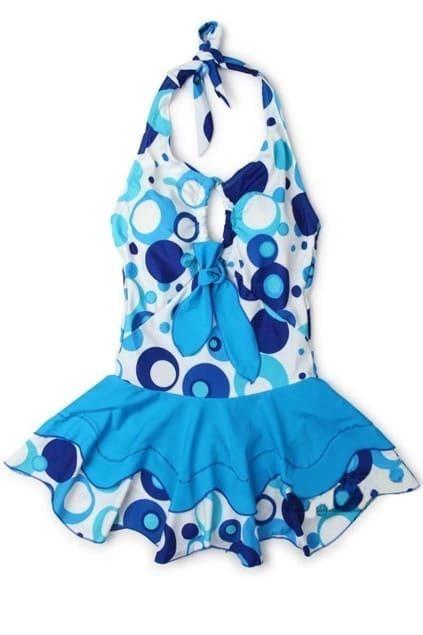Bubble Print Skirted Blue Swim Suit