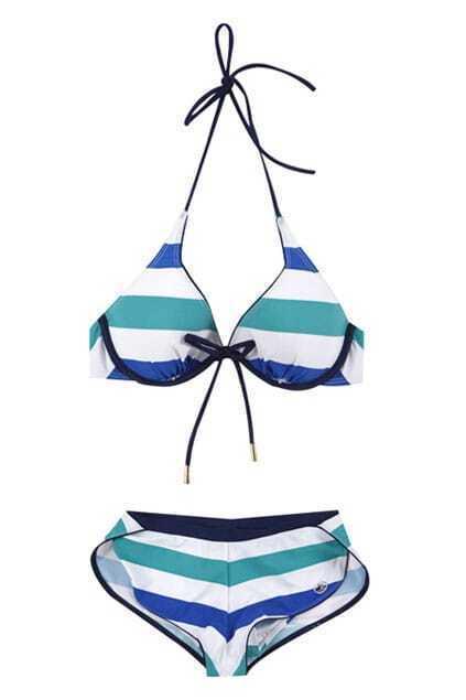 Blue Stripes Triangle Bikini Set