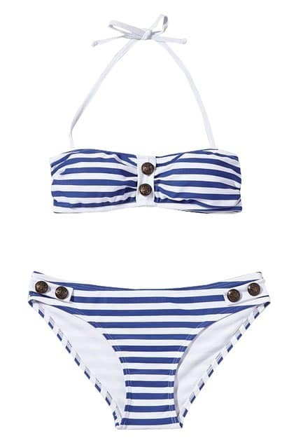 Navy Blue Stripes Bandeau Bikini Set