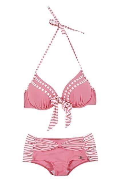 Pink Striped Bikini Set