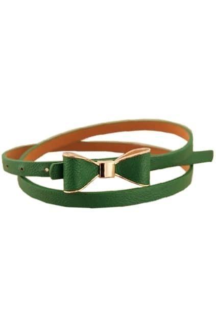 Bowknot Buckle Green Waist Belt