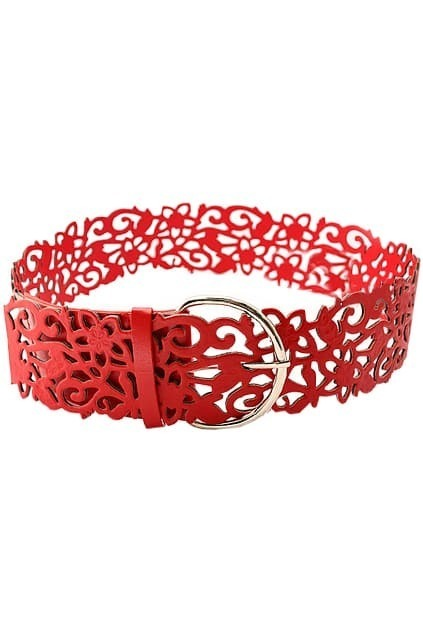 Hollow Out Flower Red Waist Belt