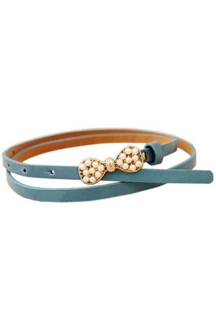 Pearls Bowknot Retro Blue Waist Belt