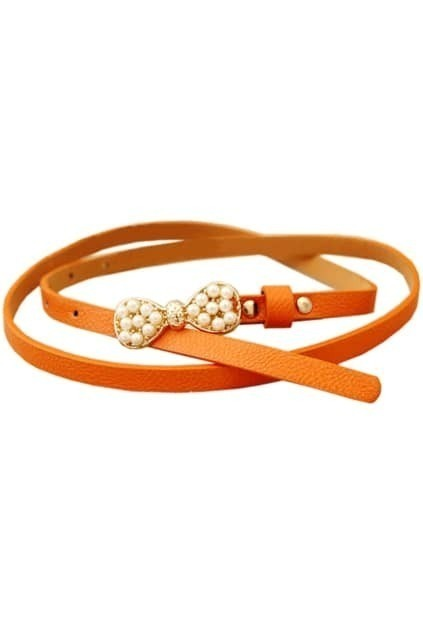 Pearls Bowknot Orange Waist Belt