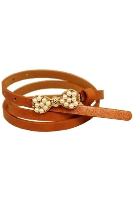 Pearls Bowknot Coffee Waist Belt