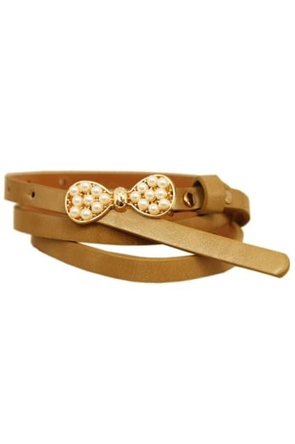 Pearls Bowknot Cream-camel Waist Belt