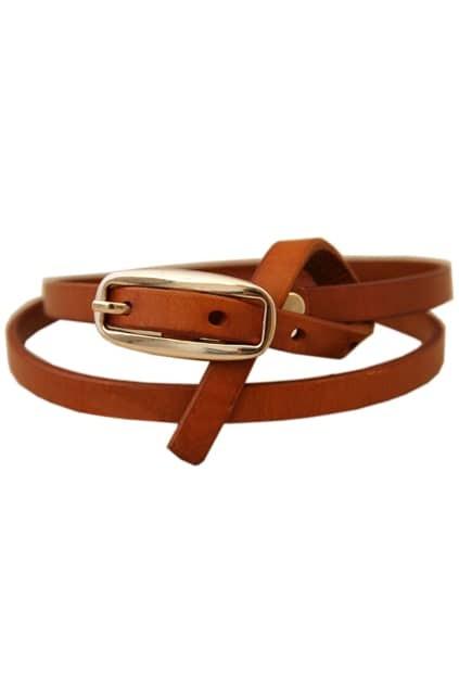 Brown Cow Leather Slim Waist Belt