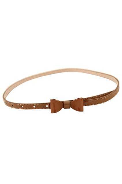 Bowknot Brown Slim Waist Belt