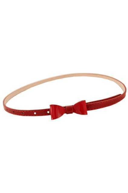 Bowknot Wine-red Slim Waist Belt