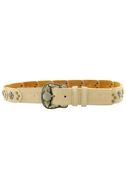 Flowers And Dots Engraved Cream Belt