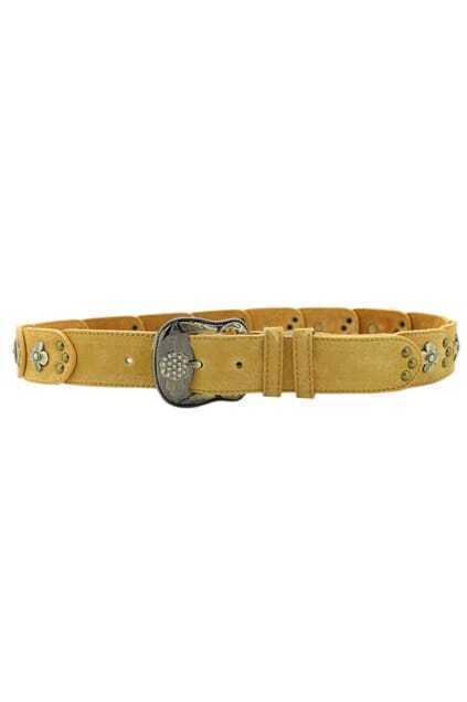 Flowers And Dots Engraved Yellow Belt