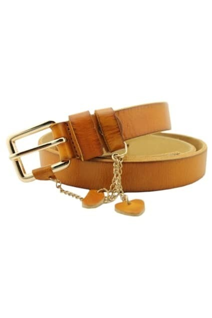 Love Pendant Brown Slim Belt