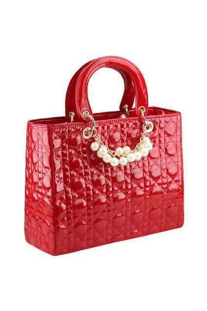 Pearls Detail Red Handbag