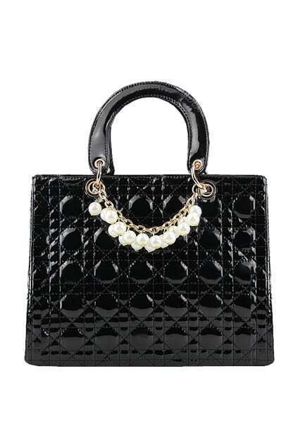 Pearls Detail Black Handbag