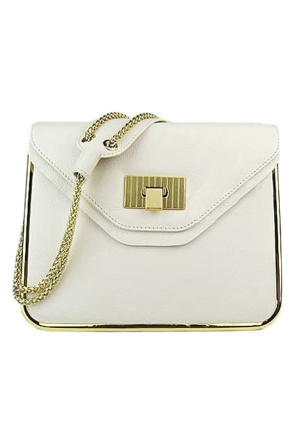 Retro Chain Textured White Bag