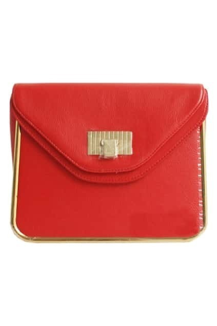 Retro Chain Textured Red Bag