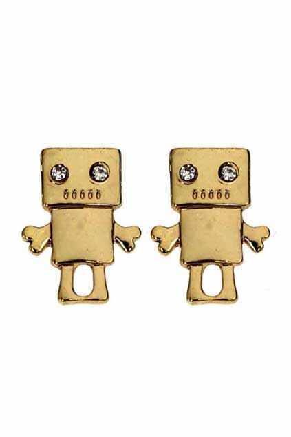 Golden Robot Earrings