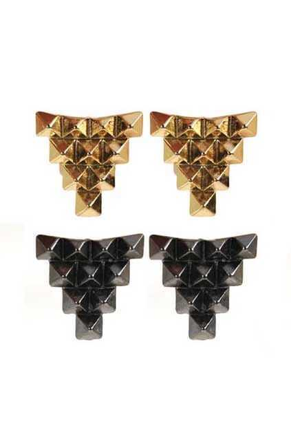Pyramid Shape Metal Earrings