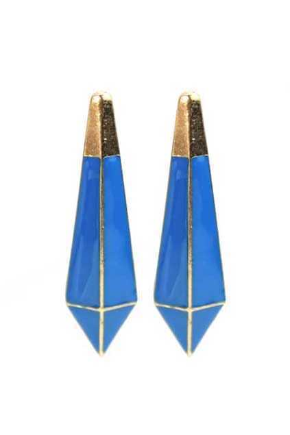Stereo Spikes Blue Earrings