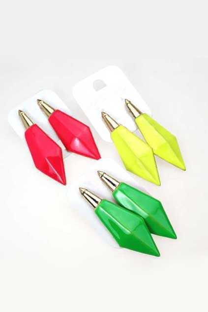 Neon Color Stereo Spikes Earrings