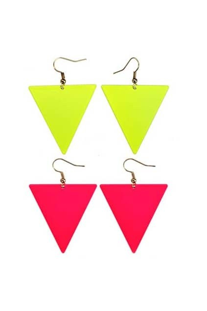 Neon Color Triangle Earrings