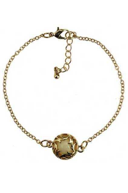 Round Amber Pendant Bracelet