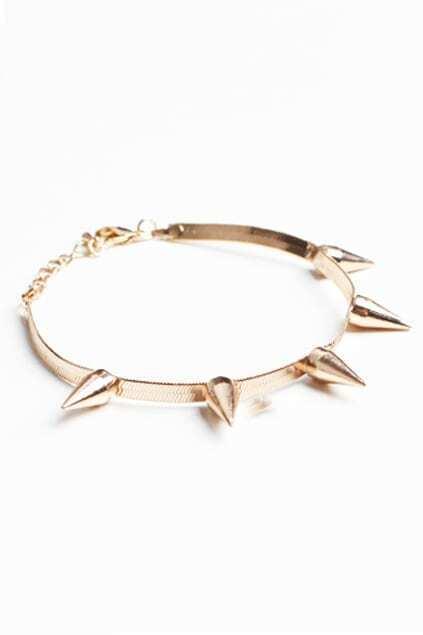 Punk Style Spike Gold-tone Bracelet