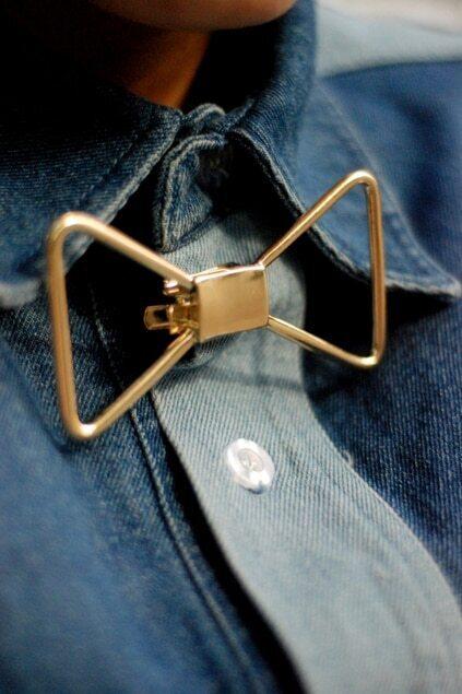 Golden Bowknot Shape Brooch