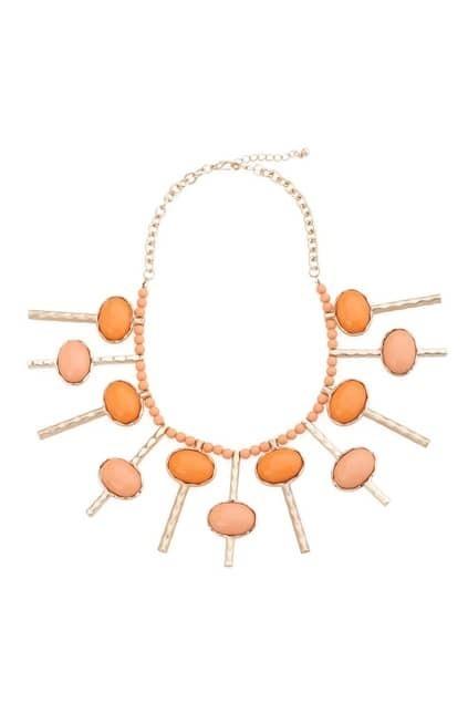 Draped Key Design Orange Necklace
