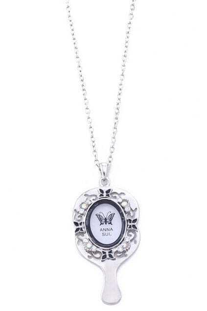 Silver-tone Mirror Necklace
