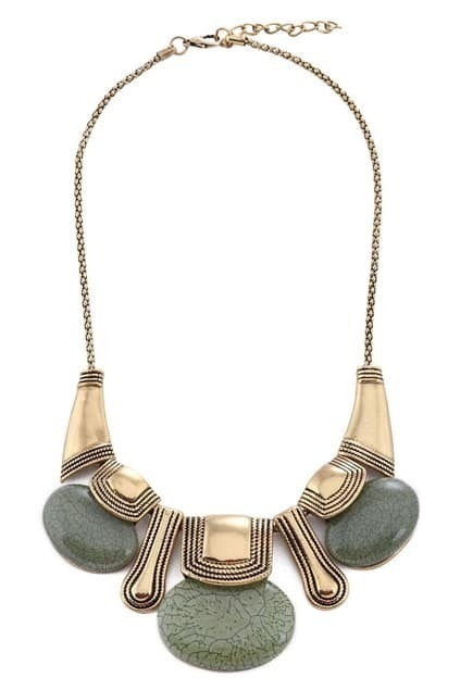 Oval Stone Charm Short Necklace