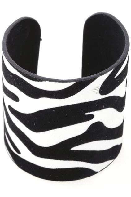 Zebra-stripe Wide Cuff Bracelet