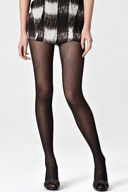 Cross Heart Jacquard Weave Black Tights