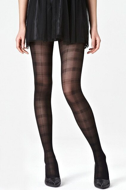 Check Grain Jacquard Weave Black Tights