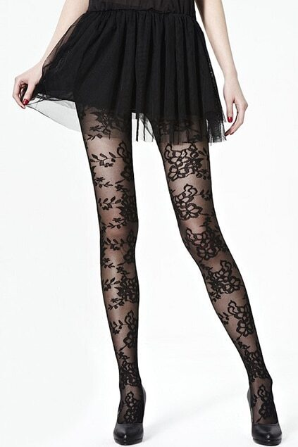 Flower Lace Black Tights