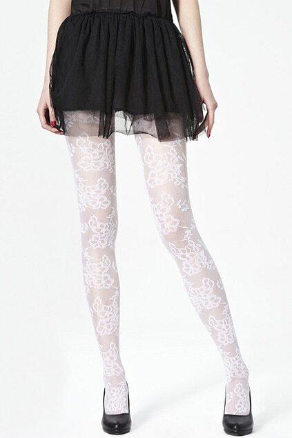 Flower Lace White Tights