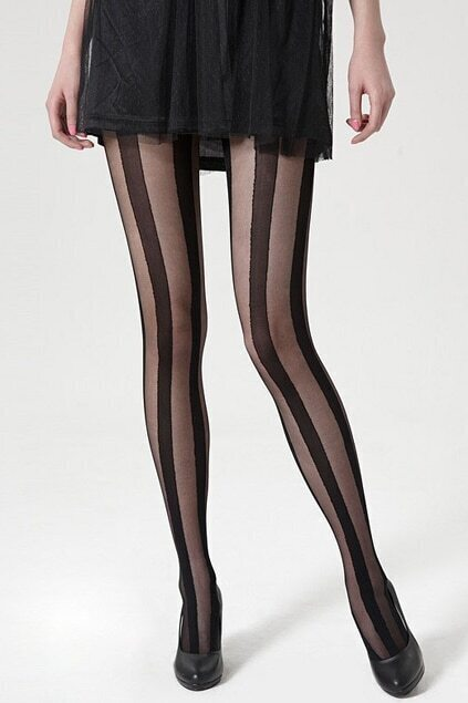 Contrast Stripes Black Tights