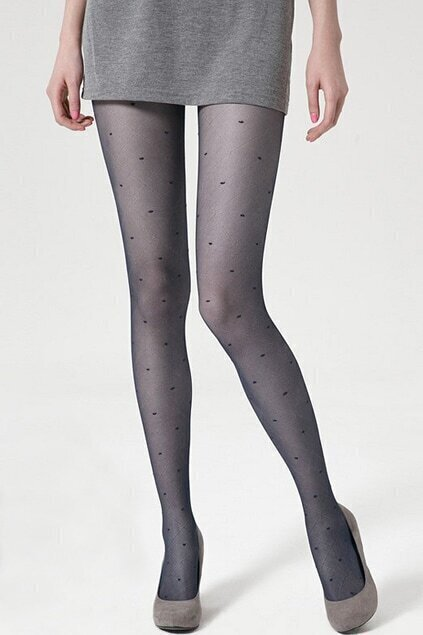 Check Grain Dots Navy-blue Tights